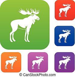 Moose set collection - Moose set icon in different colors...