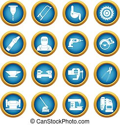 Metal working icons blue circle set isolated on white for...