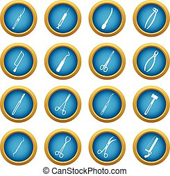 Surgeons tools icons blue circle set isolated on white for...