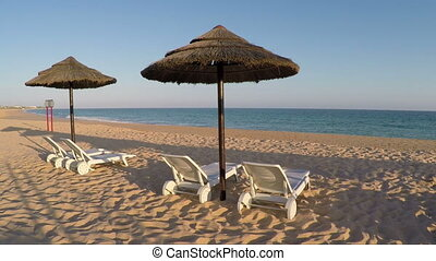 Video for sun beds on the beach in Albufeira. Portugal