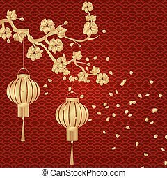 Chinese New Year. Stylized under the bronze of Chinese lanterns on a cherry branch with flying petals. Round. illustration