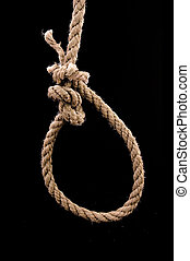 Hanging noose prepeared for a suicide, low light condition.