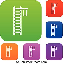 Swedish ladder set collection - Swedish ladder set icon in...