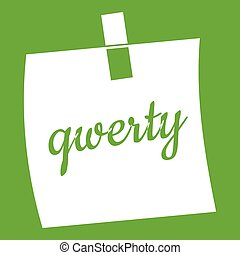 Paper sheet with text qwerty icon green - Paper sheet with...