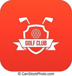 Golf club emblem icon digital red for any design isolated on...