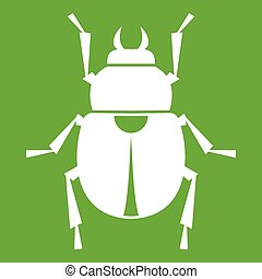 Scarab icon green - Scarab icon white isolated on green...