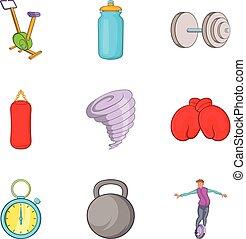 Punch ball icons set, cartoon style