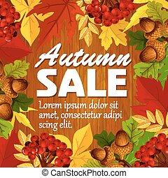 Autumn vector sale poster leaf, rowan berry acorn