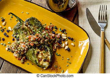 Stuffed Poblano Peppers and Salsa - Roasted Poblano pepper...