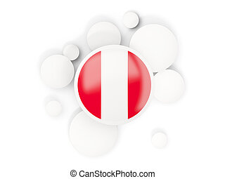 Round flag of peru with circles pattern isolated on white....