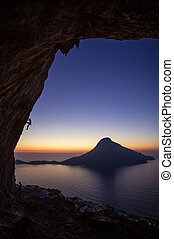 Rock climbers at sunset, Kalymnos Island, Greece - Two male...