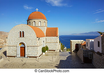 Monastery of Agios Savvas, Pothia, Kalymnos, Greece -...