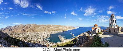 Panoramic view of Pothia Town, Kalymnos, Greece - Panoramic...