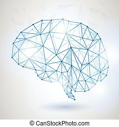 Technology Low Poly Design of Human Brain with Binary Digits...