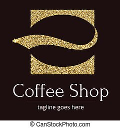 Logo with a Golden glitter, sheen. Symbol for coffee shop or...