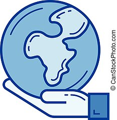 Nature protection line icon. - Nature protection vector line...
