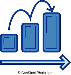 Growing graph line icon. - Growing graph vector line icon...