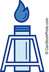 Oil well line icon. - Oil well vector line icon isolated on...