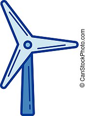 Wind turbine line icon. - Wind turbine vector line icon...