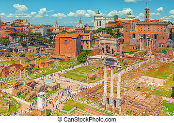 View of the Roman Forum from the Hill of Palatine - a...