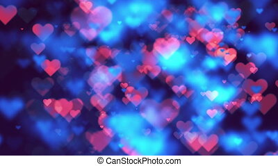 Colorful Heart Bokeh Loop Happy Valentine Background. Full...