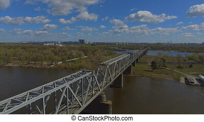 Natural landscape urban town - aerial view on the kyiv in...
