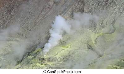 active volcano sulphur vents - close-up shot of active...