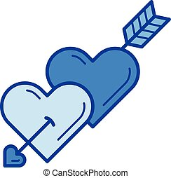 Cupid arrow line icon. - Cupid arrow vector line icon...