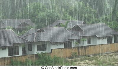Strong tropical downpour in Thailand stock footage video -...