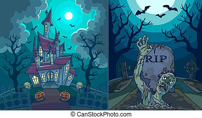 Scary landscapes with old house and zombie at cemetry -...