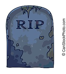 Dirty gravestone with RIP sign and mold stains isolated...