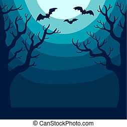 Dark spooky landscape with bright moon and bats - Dark...