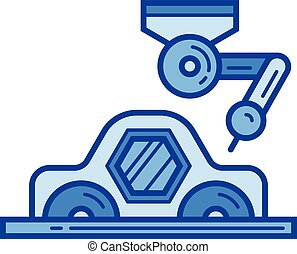 Car production line icon. - Car production vector line icon...