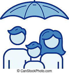 Family protection line icon. - Family protection vector line...