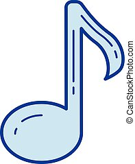 Music note line icon. - Music note vector line icon isolated...