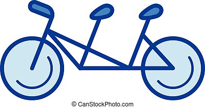Tandem bicycle line icon. - Tandem bicycle vector line icon...