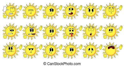 Cartoon sun with waving hands with sad faces. - Cartoon sun...