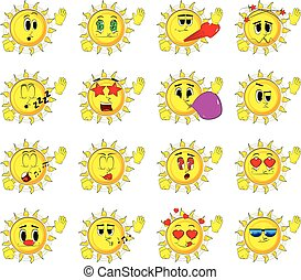 Cartoon sun with waving hands with various facial expressions.
