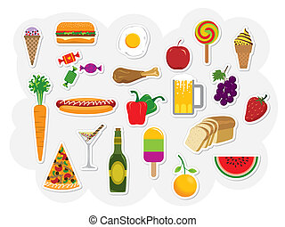 Food, Drink - Vector clip art collection of food and drinks....