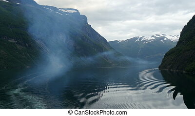 air pollution by cruise ship in geiranger fjord,norway,...