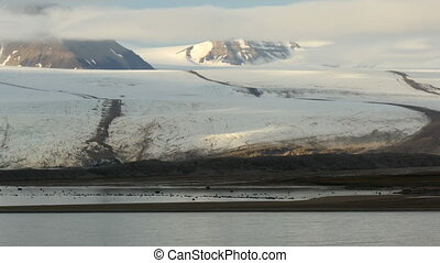 passing nordenskiold glacier in svalbard,norway. You can see...