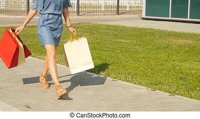 Young woman with shopping bags walking along the street in...