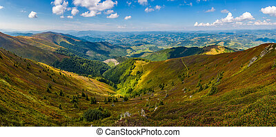 spectacular view from the top of mountain ridge -...