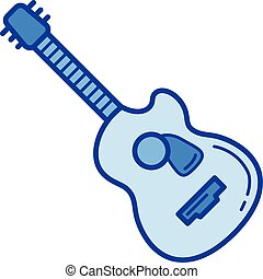 Jazz guitar line icon. - Jazz guitar vector line icon...