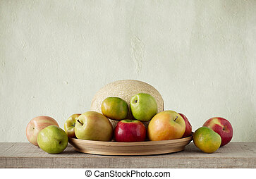 fruits in a tray.