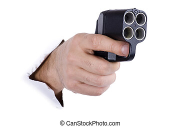 hand with traumatic gun - object on white - hand with...
