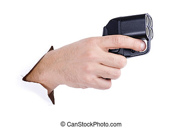 hand with traumatic gun on white - object on white - hand...