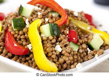 Close Up Vegetarian Lentil Salad