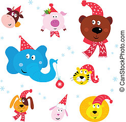 Christmas Party Animals with hats - Cute animal icons with...