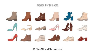 Set with different types of winter and demi women s boots. Collection of hand drawn trendy fashion colorful shoes.